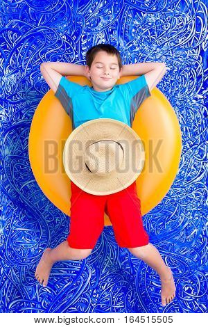 Handsome Little Boy Dozing Off In The Pool