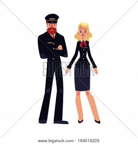 Full length portraits of cabin crew - bearded airline pilot and blond stewardess in black uniform, cartoon vector illustration isolated on white background. Pilot and stewardess standing together