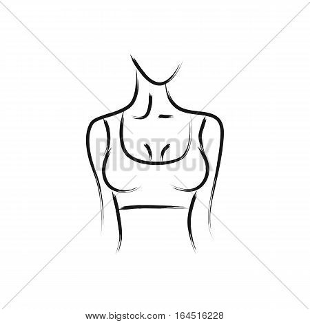 Vector image of a woman's body. Beautiful body shape. Turn right. Female bust. Drawing paint