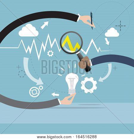 Magnifying Glass Businessman Hand Analysis Finance Graph Financial Business Flat Vector Illustration