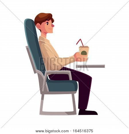 Young man seating in airplane, economy class, holding a drink, cartoon vector illustration on white background. Man seating in economy class, airplane passenger, holding a paper cup of coffee, drink