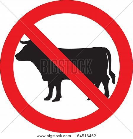 No meat allowed sign on a white background