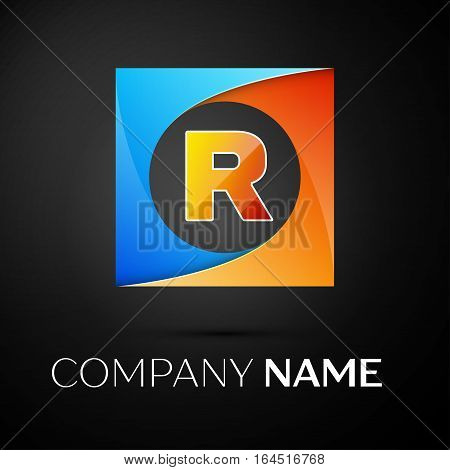 Letter R vector logo symbol in the colorful square on black background. Vector template for your design