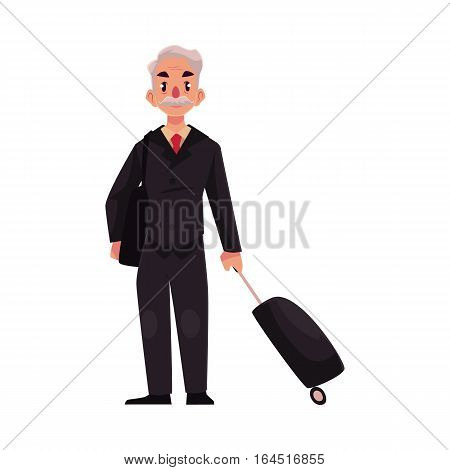 Old, senior, elder man in black suit with suitcase in airport, cartoon illustration isolated on white background. Full length portrait of old, senior man business traveler with luggage, suitcase