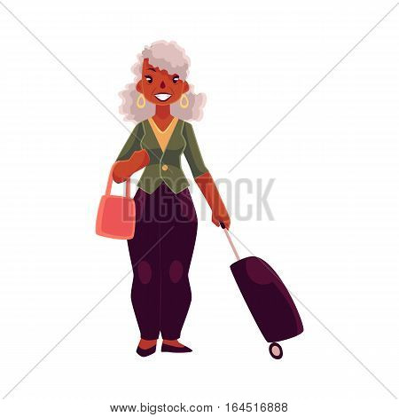 Old, senior African American woman with suitcase and handbag, cartoon illustration isolated on white background. Full length portrait of beautiful old black lady with luggage, suitcase in airport
