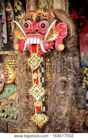 The red mask of god for dancing or art performance culture of Bali Indonesia