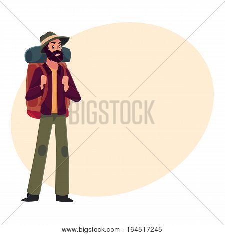 Traveler, backpacker, hitchhiker, geologist or archeologist with backpack, cartoon illustration on background with place for text. Young man with backpack going to travel, hiking, expedition