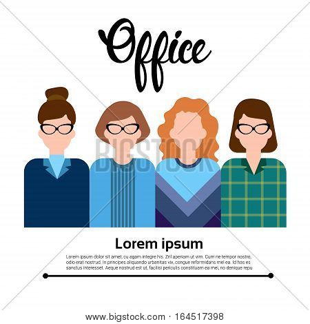 Business People Group Icon Set Woman Businesspeople Team Office Worker Flat Vector Illustration
