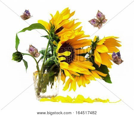 Yellow Flowers In Vase  And Floral Butterfly