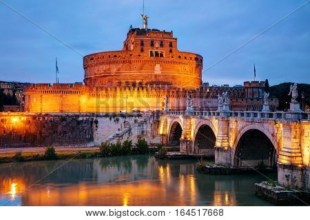 The Mausoleum of Hadrian (Castel Sant'Angelo) in Rome at night