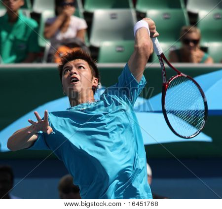 MELBOURNE, AUSTRALIA - MARCH 6: Chu-Huan Yi hits a volley in the doubles rubber of the Davis Cup tie against Chinese Taipei on March 6, 2010 in Melbourne, Australia