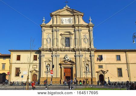 FLORENCE, ITALY: January 19, 2016 : facade of the church of San Marco on january 19, 2016, Florence, Italy