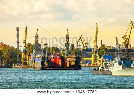 Ship on floating dry dock in Gdynia Poland.