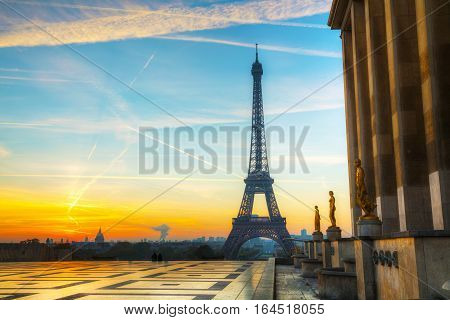 Cityscape with the Eiffel tower in Paris France