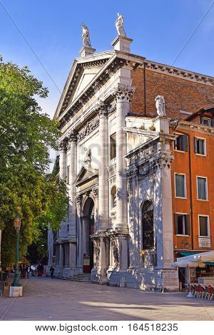 church of San Vidal, now an event and concert hall located at one end of the Campo Santo Stefano in the Sestiere of San Marco, Venice, Italy