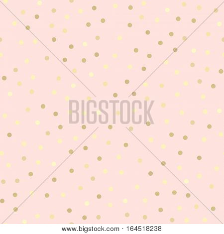Golden glitter dots abstract pink background. Seamless vector pattern. Shiny holiday background. Golden circles pattern. Gold metal foil background.