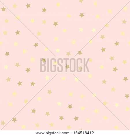 Golden glitter star dots abstract pink background. Seamless vector pattern. Shiny holiday background. Golden circles pattern. Gold metal foil background.