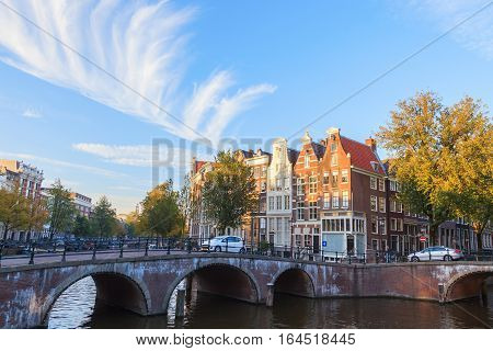 Bridge over canal in Amsterdams The Netherlands