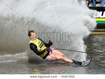 MELBOURNE, AUSTRALIA - MARCH 8: A competitor in the women's slalom at the Moomba Masters on March 8, 2010 in Melbourne, Australia