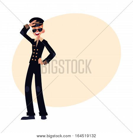 Full length portrait of young civil airline pilot in black uniform and sunglasses, cartoon vector illustration on background with place for text. Young and happy civilian pilot wearing black uniform