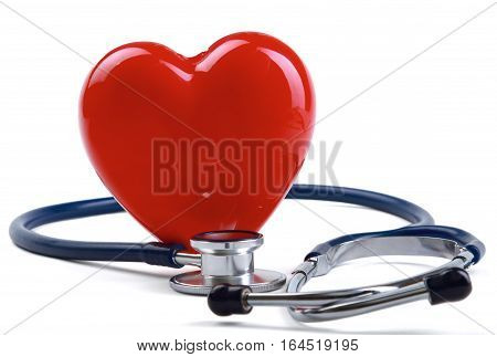 Red heart and a stethoscope isolated on white background.