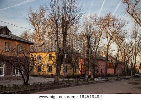 Old Soviet two storey houses built by German prisoners after World War II in the late 40's and early 50's. Voronezh, Russia