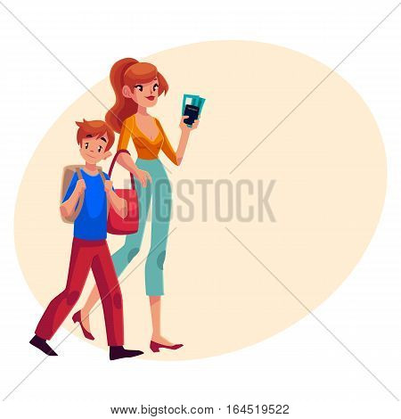 Young beautiful woman going on vacation with her son, holding boarding passes and passport, cartoon illustration on background with place for text. Full length portrait of young mother and son