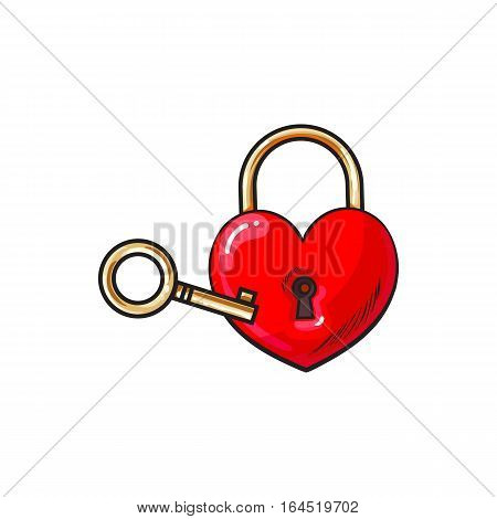 Red heart shaped padlock and key for love lock unity ceremony, sketch style illustration isolated on white background. Realistic hand drawing of shiny red lock and vintage key for wedding ceremony