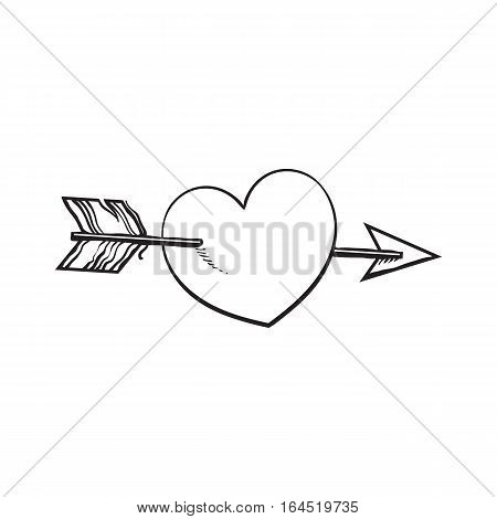 shiny cartoon heart pieced by Cupid arrow, sketch style illustration isolated on white background. Heart pierced by arrow, symbol of love, romance and passion, marriage icon