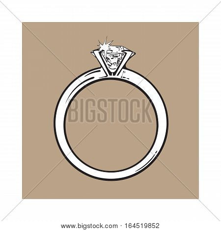 Golden engagement ring with a big shining diamond, sketch style illustration isolated on brown background. Realistic hand drawing of traditional marriage, engagement ring with a diamond
