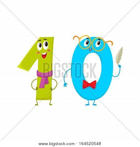 Cute and funny colorful 10 number characters, cartoon vector illustration isolated on white background. One and zero, ten smiling characters, birthday greetings, anniversary