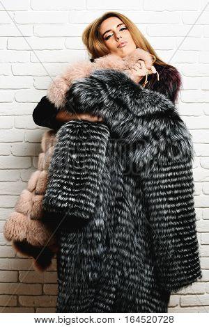 Satisfied Fashionable Woman In Fur