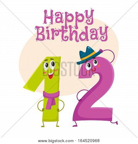 Happy birthday vector greeting card, poster, banner design with cute and funny twelve number characters. twelve smiling characters, happy birthday greeting card template