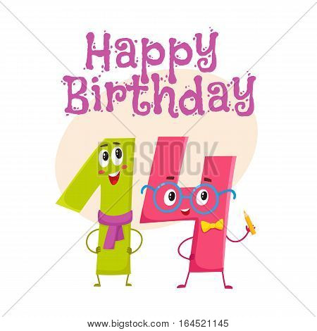 Happy birthday vector greeting card, poster, banner design with cute and funny fourteen number characters. fourteen smiling characters, happy birthday greeting card template