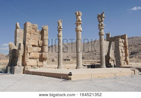 PERSEPOLIS, IRAN - OCTOBER 6, 2016: Ruins of the gate to the ancient city of Persepolis, historical site close to Shiraz on October 6, 2016 in Iran, Asia
