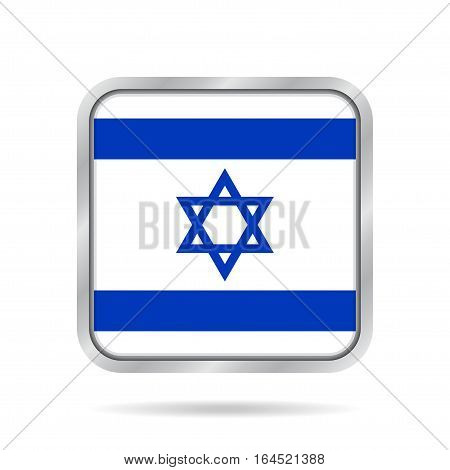 National flag of Israel. Shiny metallic gray square button with shadow.