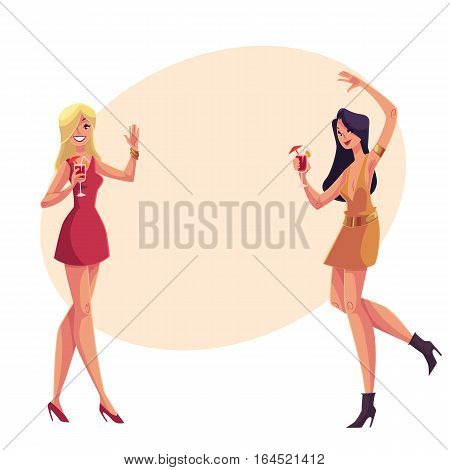 Young clubber girls, blond and black haired, in short red dresses dancing at party, cartoon vector illustration on background with place for text. Young women drinking cocktails and having fun and partying