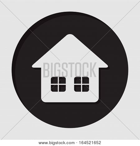 information icon - black circle white home with two windows and shadow