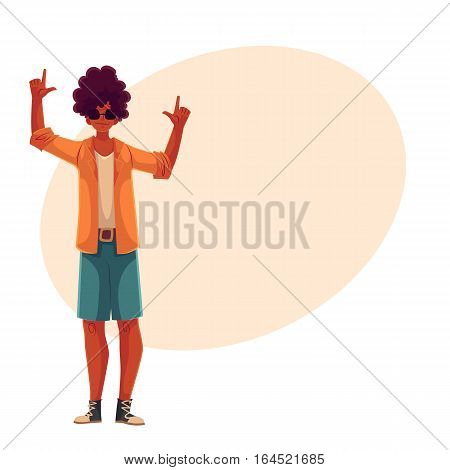Young african american man dancing, cartoon style vector illustration isolated on yellow background. Young and beautiful black man, teenager, boy dancing at a party in skirt and t-shirt