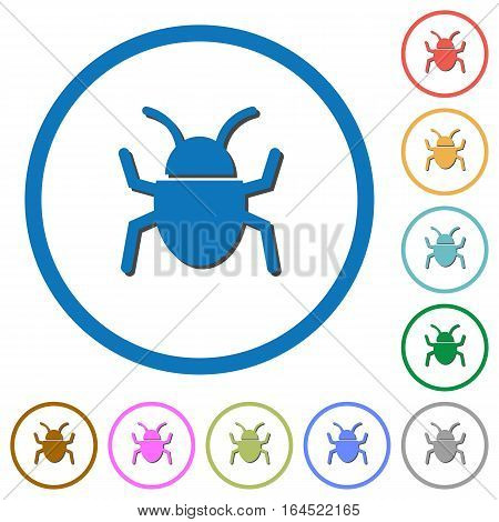 Bug flat color vector icons with shadows in round outlines on white background