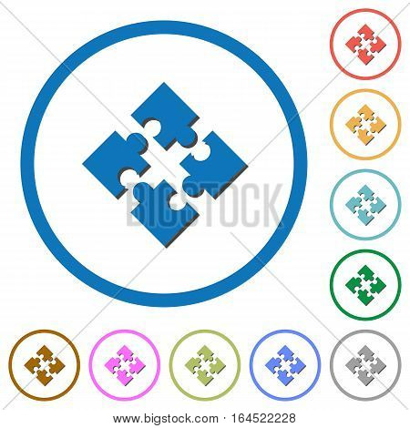 Modules flat color vector icons with shadows in round outlines on white background