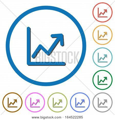 Line graph flat color vector icons with shadows in round outlines on white background