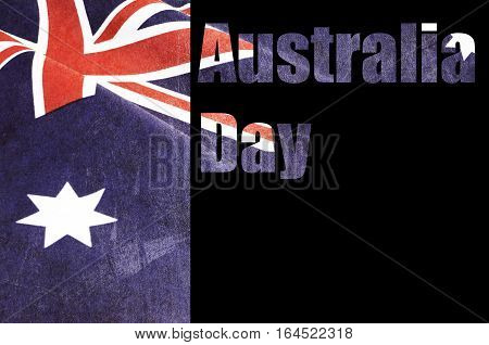 Australia Day Text Cut Out Over Photo Of Grunge Australian Flag.