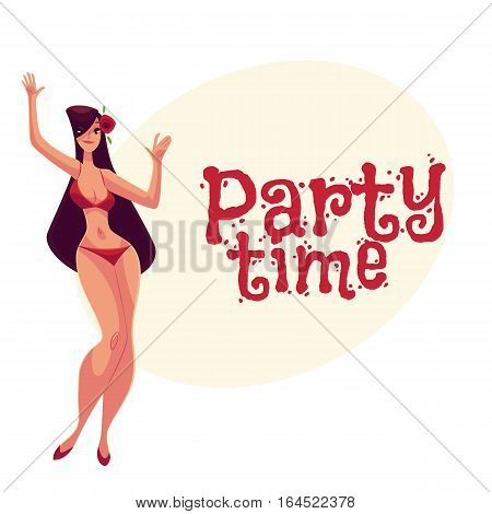 Young curvy woman, long black hair in red bikini dancing, cartoon style invitation, greeting card design. Party invitation, advertisement, Young and beautiful block haired girl dancing in bikini