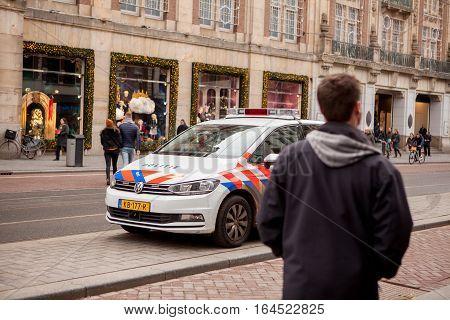 Amsterdam, Netherlands, 11 December 2016 - Dutch police on duty