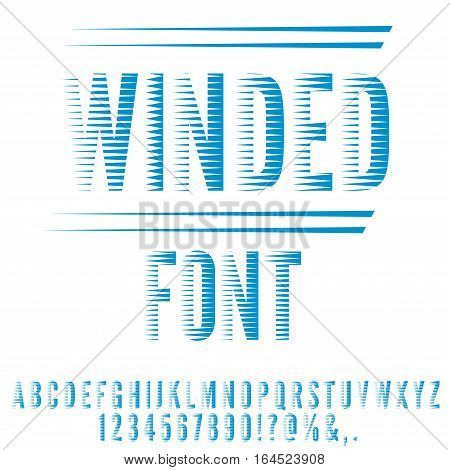 Winded stylized, blue colored retro 80 stripped looks font. Vector set