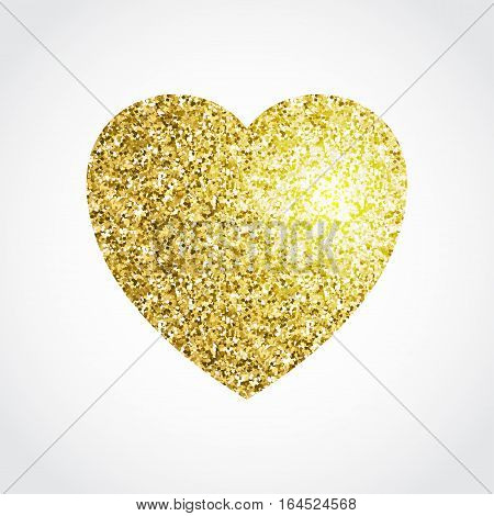 Gold glitter heart isolated on white background. Vector glitter textured object.