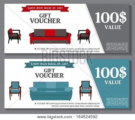 Gift Voucher Template with variation of furniture for apartments Discount Coupon. Vector Illustration. EPS10