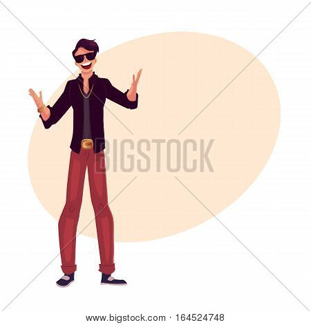 Young stylish clubber man wearing sunglasses and golden chain at a party, drinking cocktails, having fun, cartoon vector illustration on background with place for text. Man in sunglasses, party animal