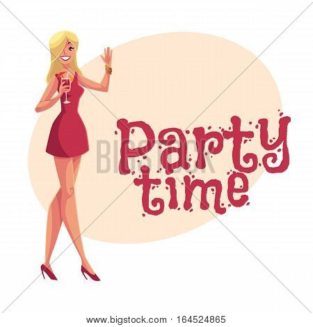 Young clubber girl in short red dress drinking cocktail at party, cartoon style invitation, greeting card design. Party invitation, advertisement, Young beautiful woman drinking cocktail and having fun